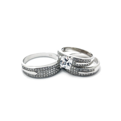 Three Piece Set Princess Cut Engagement Ring (Silver) Lucky Diamond New York
