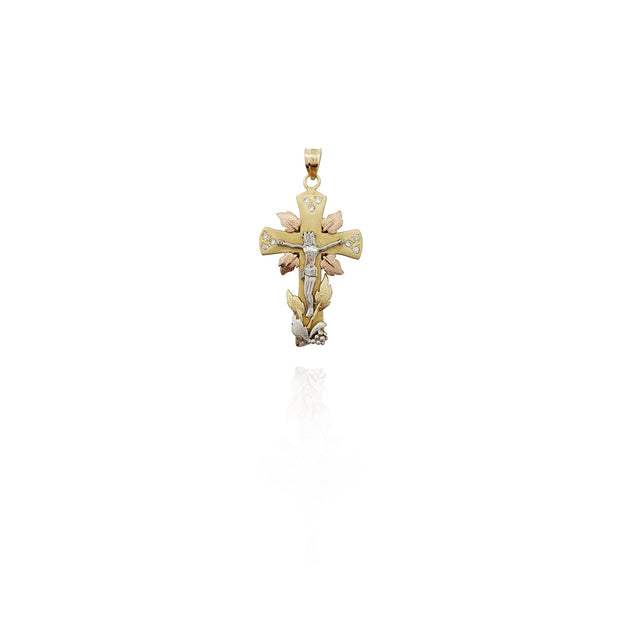 Tri-Tone Crucified Jesus With Leafs CZ Pendant (14K) New York Lucky Diamond