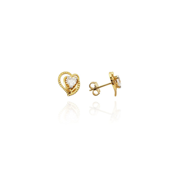 Triple Heart CZ Earrings (14K) New York Lucky Diamond