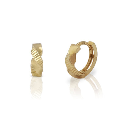 Twisted Polished/Diamond Cut Huggie Earrings (14K) Lucky Diamond New York