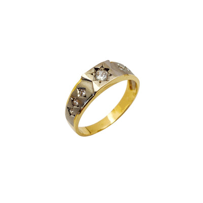 Two-Tone CZ Ring (14K) Lucky Diamond New York