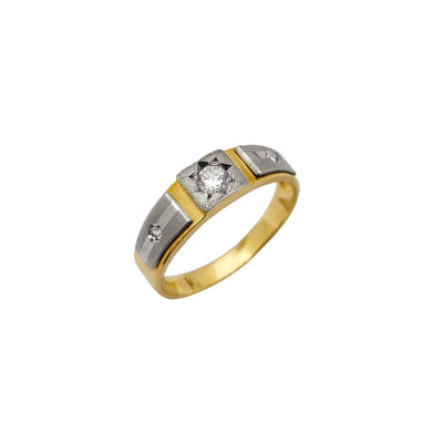 Two-Tone CZ Wedding Band (14K) Lucky Diamond New York