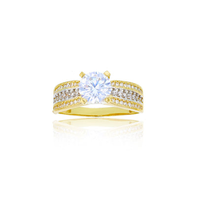 Two-Tone Micropave Engagement Ring (14K) Lucky Diamond New York