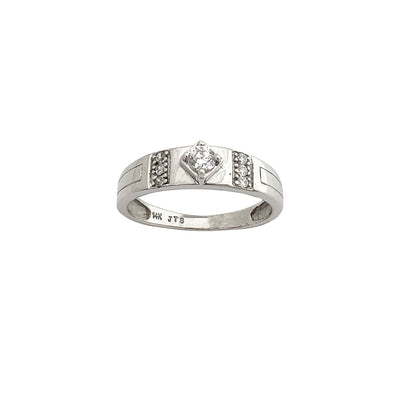 White Gold Cubic Zirconia Wedding Band (14K) Lucky Diamond New York