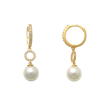 Yellow Gold Pave Round Pearl Drop Earrings (14K) Lucky Diamond New York
