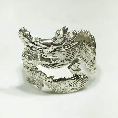 Coiled Dragon Ring (Silver) - Lucky Diamond