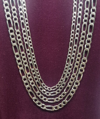 Figaro Chain (w/ Diamond Cut) Silver - Lucky Diamond