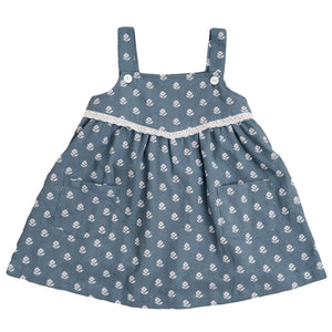 Tabitha Pinafore - upsy daisy floral on moss crepe