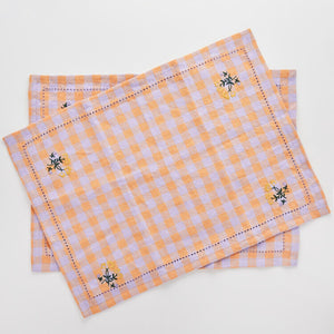 Leinikki gingham embroidered napkin/placemat, apricot