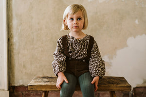 Olive blouse - floral corduroy in nut