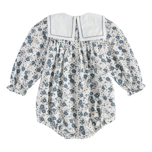 Maeve sailor collar romper - blue watercolour floral