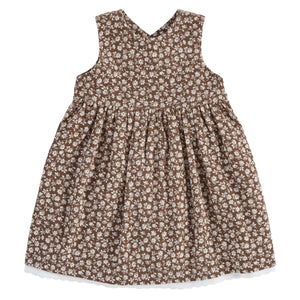 Aida pinafore - floral print corduroy in nut