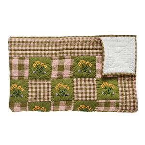Leinikki gingham embroidered quilt, olive - BABY