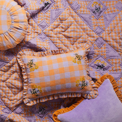 Leinikki gingham embroidered quilt, apricot - BABY
