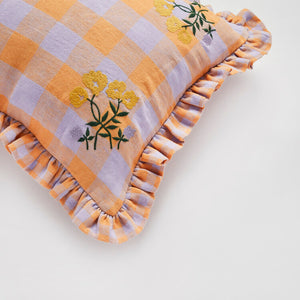 Leinikki gingham embroidery frill cushion - apricot