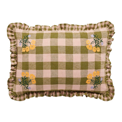 Leinikki gingham embroidery frill cushion, olive