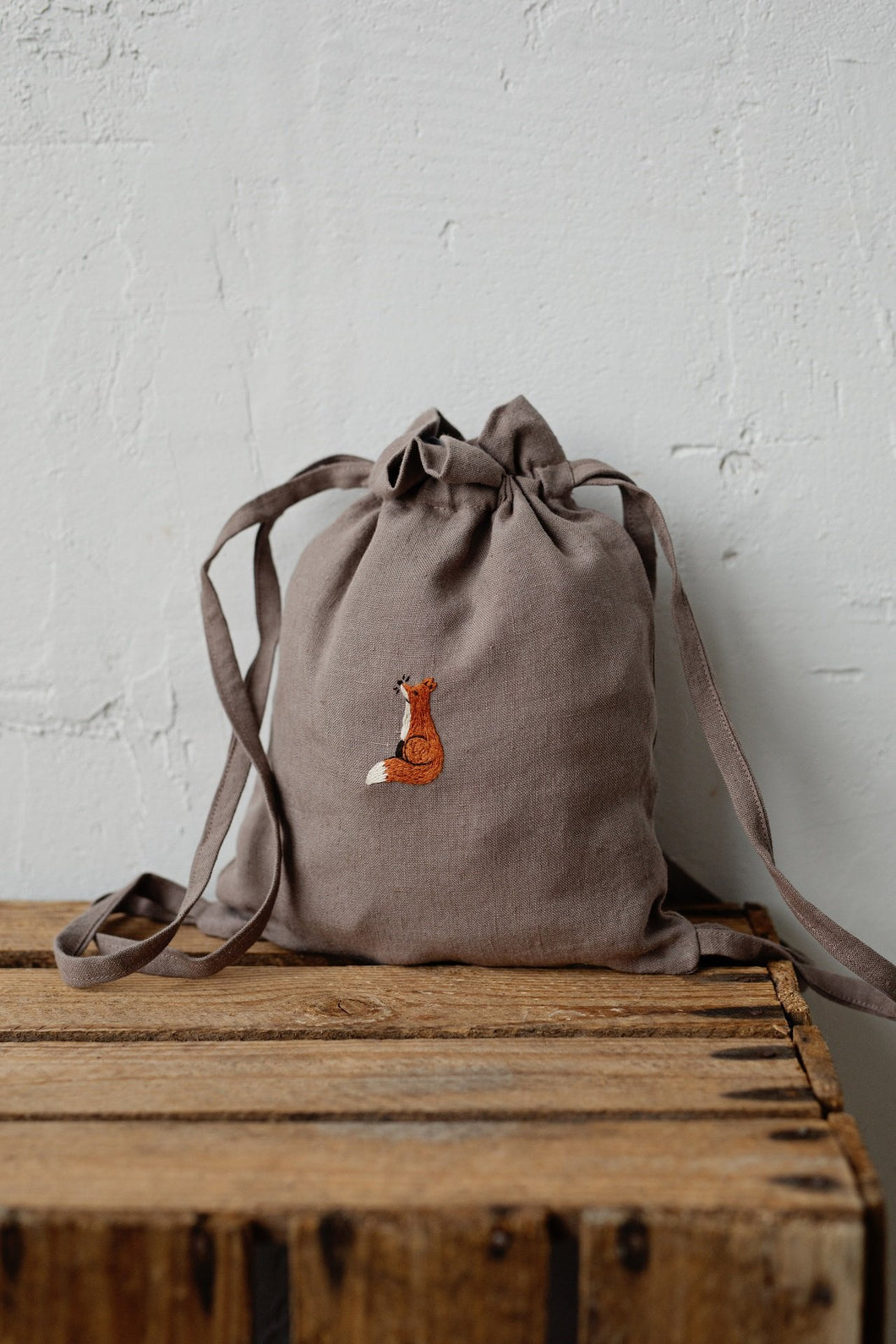 Linen Backpack 23x28cm (cacao /sitting fox)