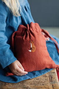 Linen Backpack 20×25cm (Brown Orange /fox)