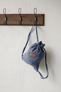 Linen Backpack 23x28cm (Dusty Blue /rocking horse)3