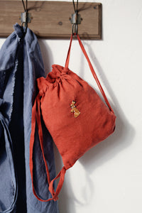 Linen Backpack 23x28cm (Brown Orange/rabbit with flower necklace)5