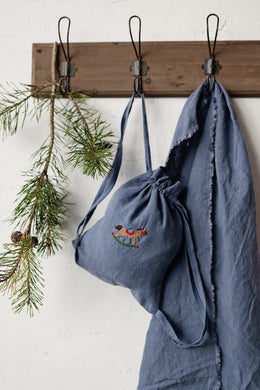 Linen Backpack 23x28cm (Dusty Blue /rocking horse)