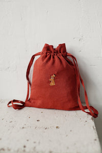 Linen Backpack 23x28cm (Brown Orange/rabbit with flower necklace)2
