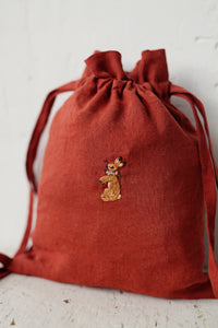 Linen Backpack 23x28cm (Brown Orange/rabbit with flower necklace)3