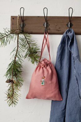 Linen Pouch Bag 23x28cm (salmon pink /green apron rabbit girl)