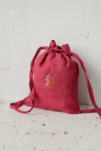 Linen Backpack 23x28cm (Raspberry Pink /rabbit with flower necklace)2