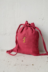 Linen Backpack 23x28cm (Raspberry Pink /rabbit with flower necklace)1