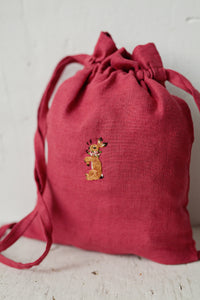Linen Backpack 23x28cm (Raspberry Pink /rabbit with flower necklace)3