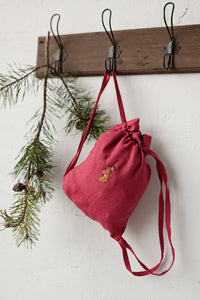 Linen Backpack 23x28cm (Raspberry Pink /rabbit with flower necklace)