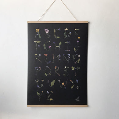 Pressed Flower Alphabet Poster- Black