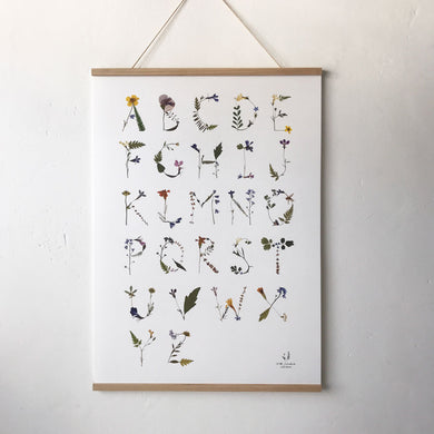 Pressed Flower Alphabet Poster- White