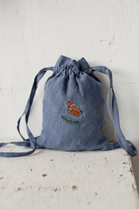 Linen Backpack 20×25cm (dusty blue/fawn and pine branch)1