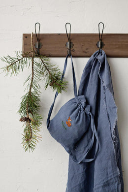 Linen Backpack 20×25cm (dusty blue/fawn and pine branch)