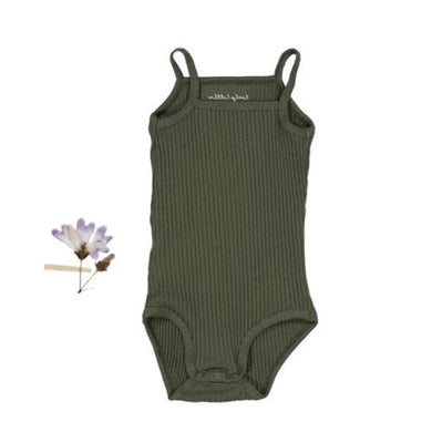 【ラスト1点】The Ribbed Tank Onesie /Moss