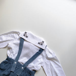 【ラスト1点】Sidonie sailor blouse - cross stitch embroidery