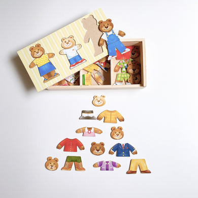 Wooden Bear Family Dress-Up Set
