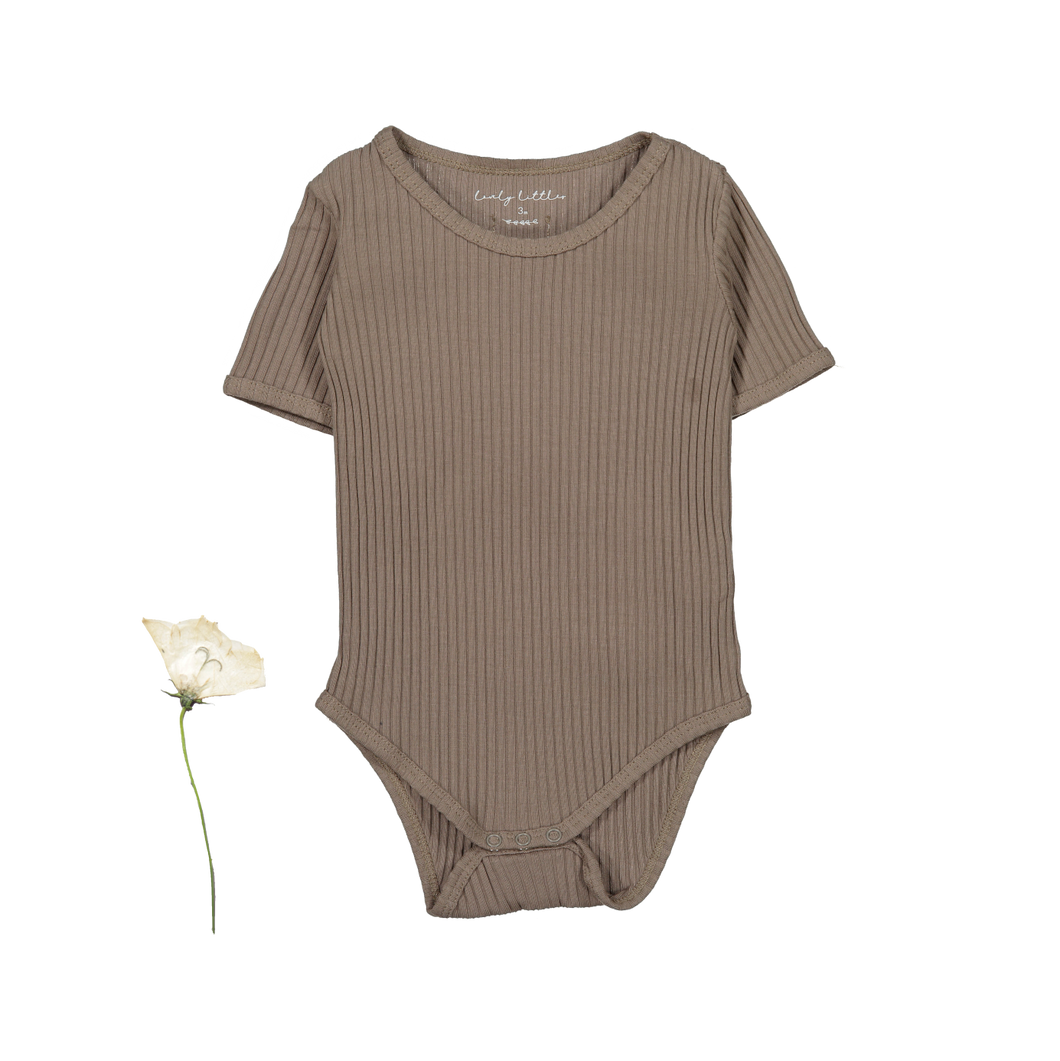 The Ribbed Short Sleeve Onesie /Taupe
