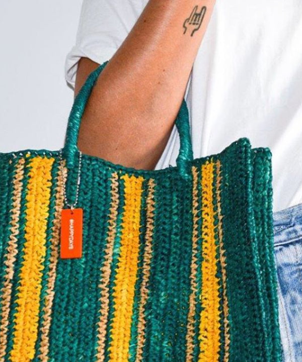 RAFFIA SHOPPING BAG - EMERALD
