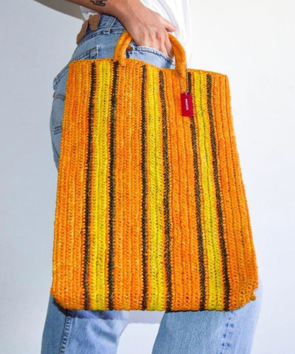 RAFFIA SHOPPING BAG - SAFFRON