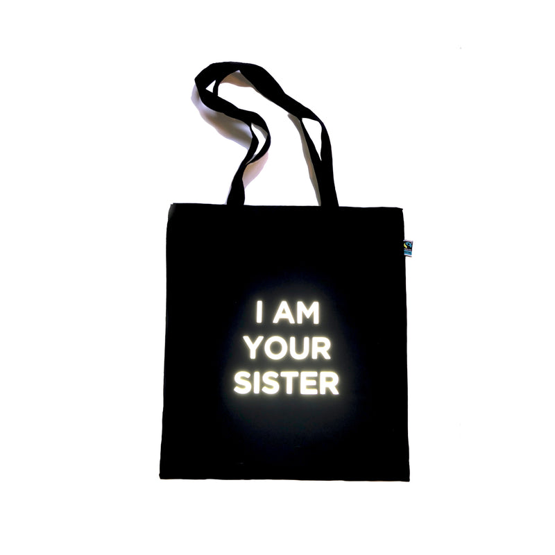 Organic cotton Tote with reflective print I am your sister