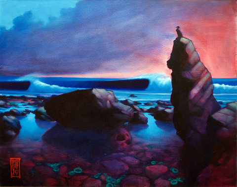 Cormorant Rock (original painting) Painting - Redeye Laboratories