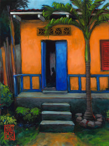 Orange House Blue Door Giclee print - Redeye Laboratories