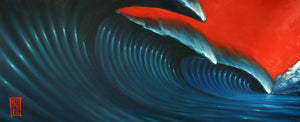 Red Sky Wave 3 (original painting) Painting - Redeye Laboratories