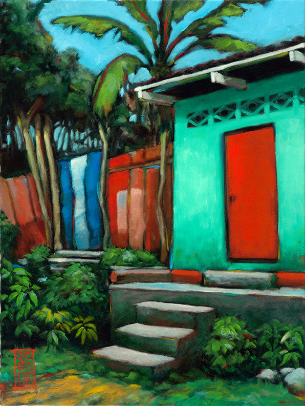 Teal House Red Door - Paper Print Giclee print - Redeye Laboratories