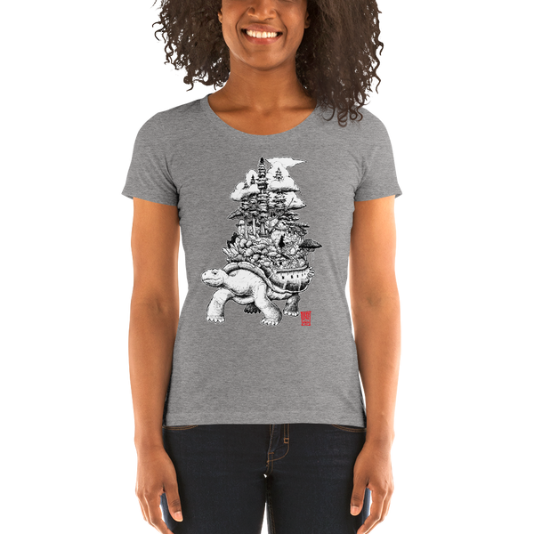 """Tortoise Land"" Ladies' short sleeve t-shirt  - Redeye Laboratories"