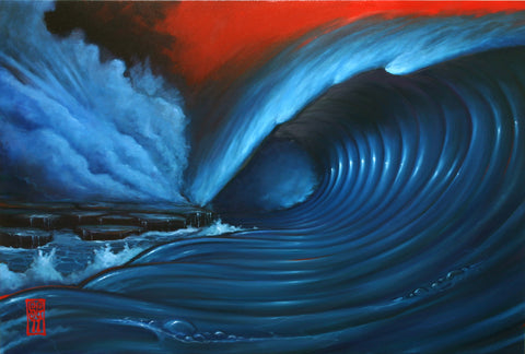 Red Sky Wave 1 (original painting) Painting - Redeye Laboratories