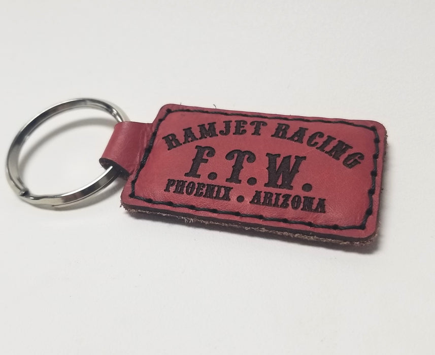 Ramjet Racing Red Leather Key Chain